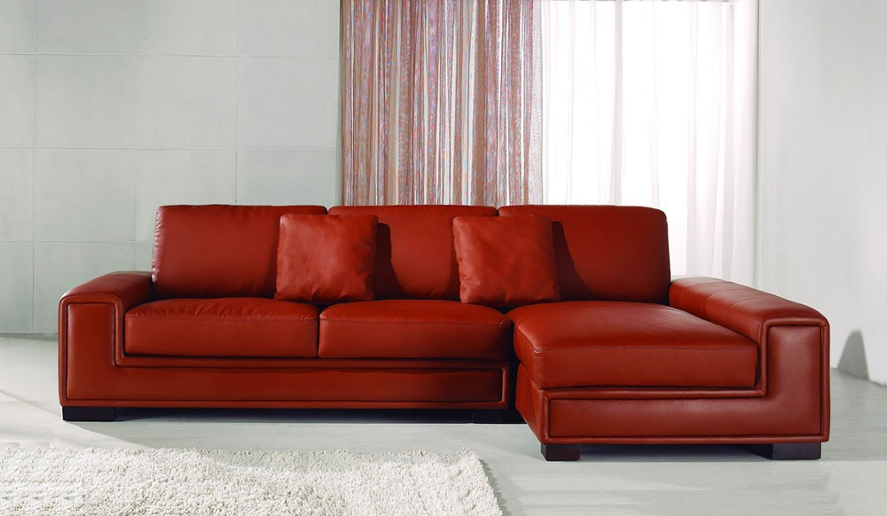 Tassonne Red Leather Corner Sofa - Contemporary Style ...