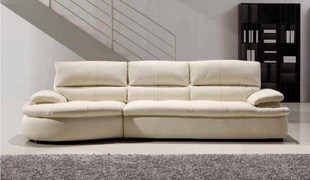 Ascoli White Leather Sofa 4 Seater Modern Style Delux