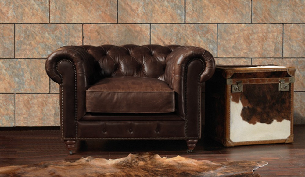 vintage leather chesterfield armchair luxury delux deco. Black Bedroom Furniture Sets. Home Design Ideas