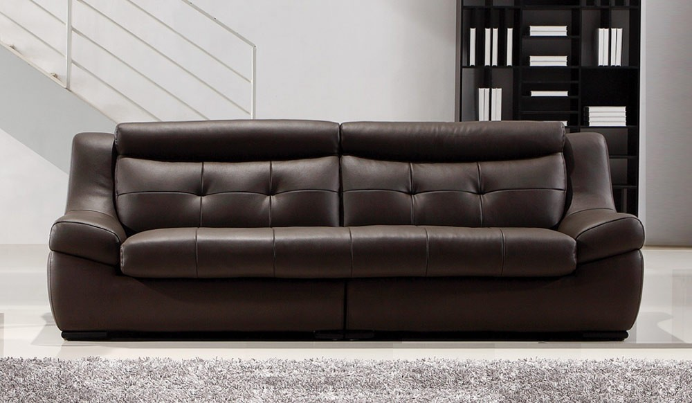 Gallina Large Brown Leather Sofa 4 Seater Modern