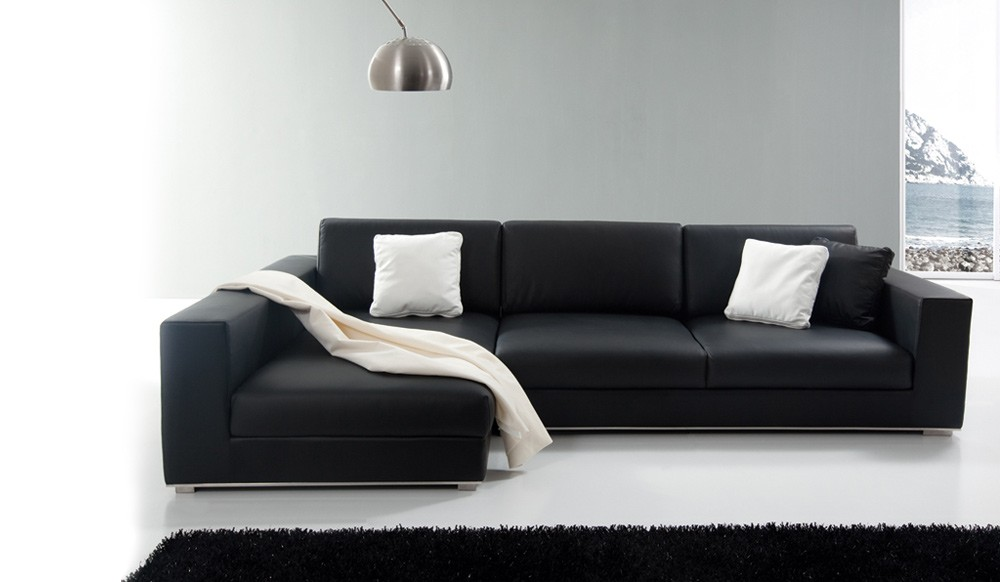 Onyx Designer Leather Corner Sofa Top Grain Leather By Delux Deco - Black leather corner sofa