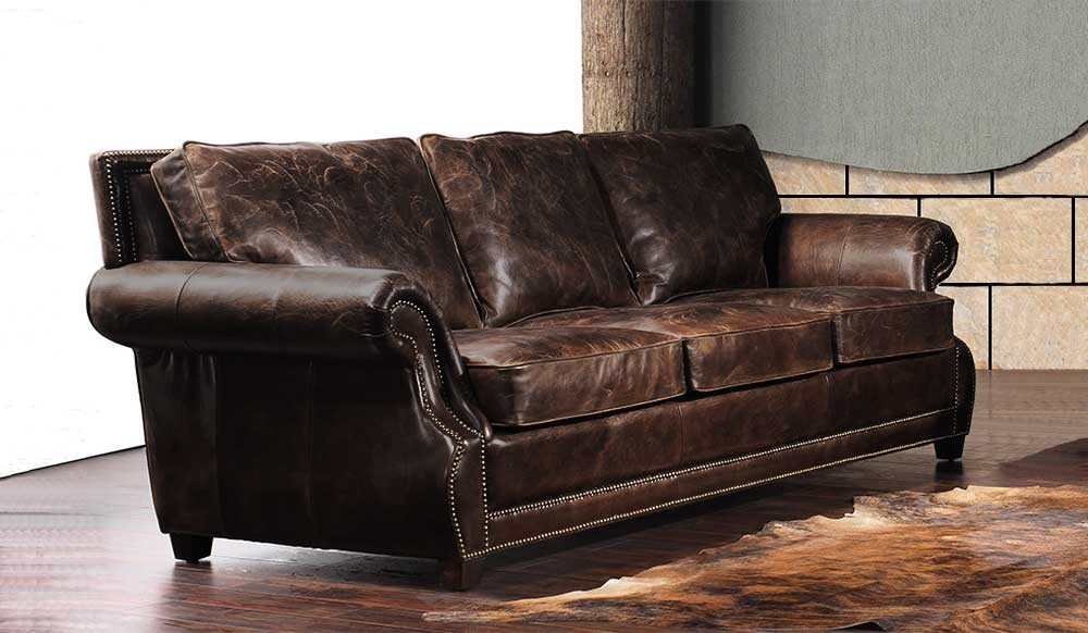 Tankerville Antique Leather 3 Seater Sofa Luxury