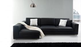 Onyx Leather Corner Sofa