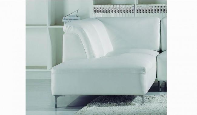 White Leather Corner Units: Santoro White Corner Leather Sofa