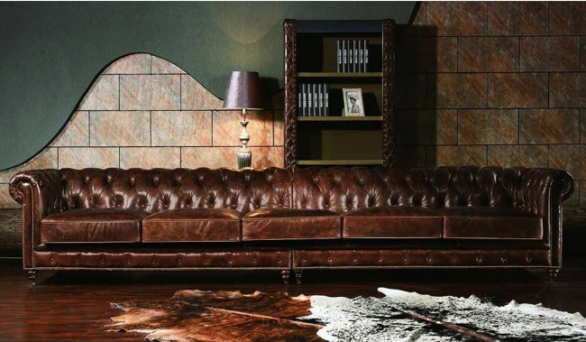 vintage leather chesterfield extra large sofa luxury delux deco. Black Bedroom Furniture Sets. Home Design Ideas