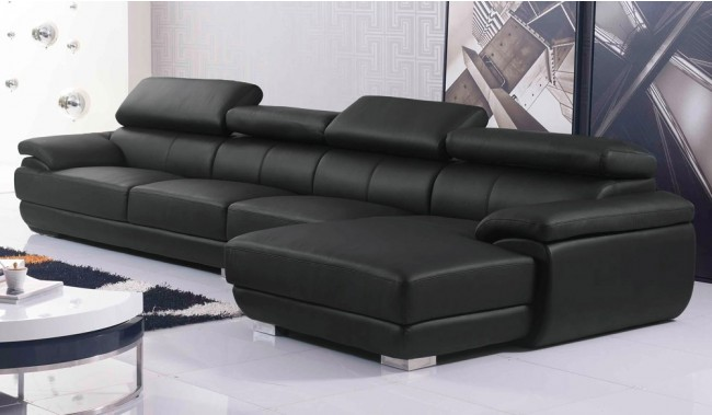 Vinelli Large Leather Corner Sofa With Multi Position Adjustable Headrest Delux Deco