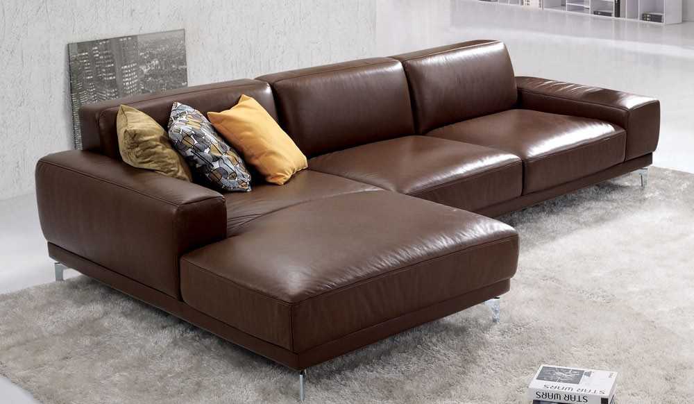 Bronx Designer Leather Corner Sofa in Saddle Brown - Delux Deco