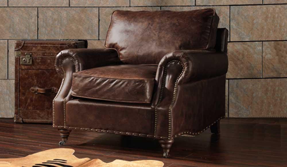 Burlington Antique Leather Armchair Luxury Delux Deco