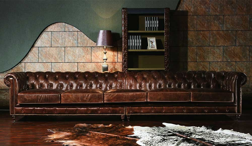 Vintage Leather Chesterfield Extra Large Sofa Luxury