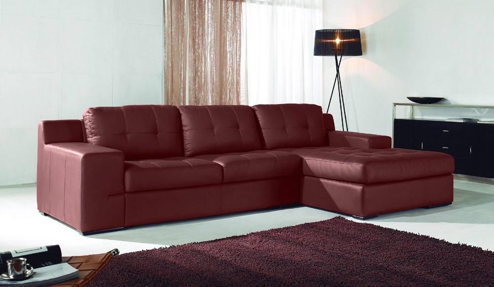 Costa Large Red Leather Corner Sofa -Designer - Delux Deco