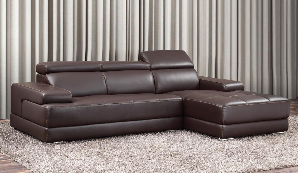 Massimo Small Leather Corner Sofa with Adjustable Headrest, Top ...