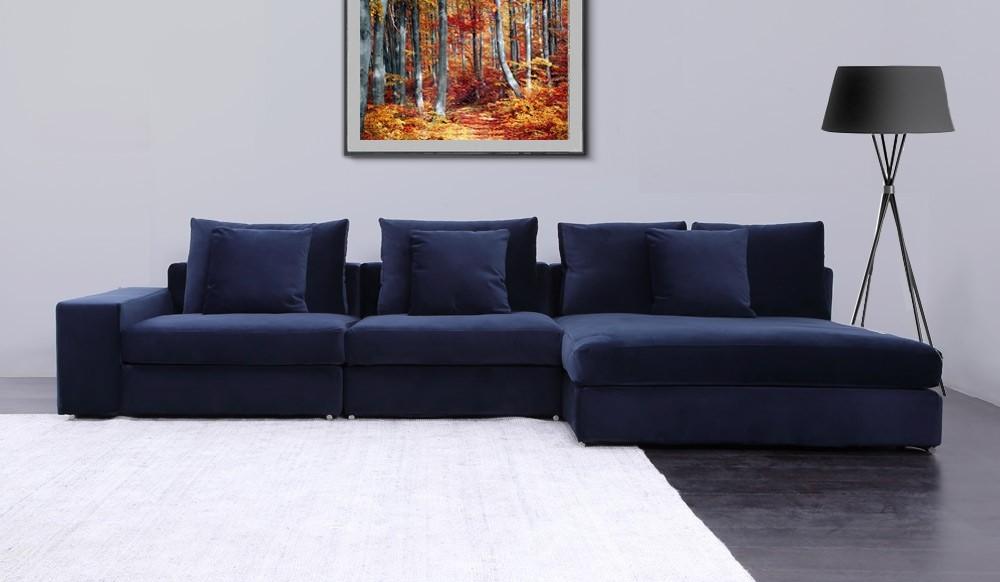 Munich Velvet Corner Sofa Delux Deco, L Shape Sofas Uk