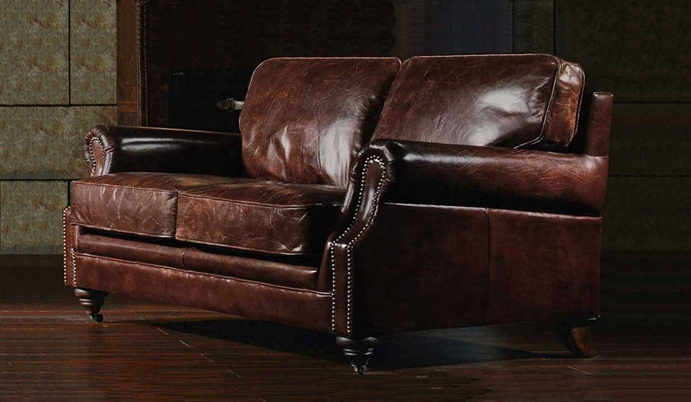 Portland Vintage Leather 2 Seater Sofa- Luxury - Delux Deco