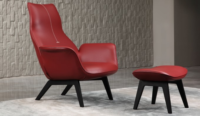Capella Leather Lounger Chair and Footstool