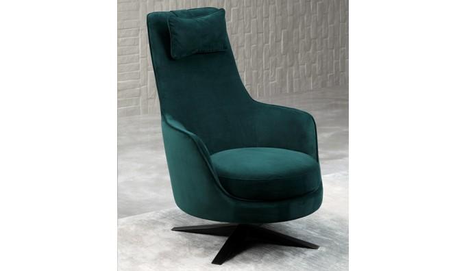 Capitano Swivel Chair in Green Velvet