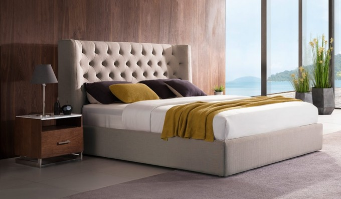 Corinthia Upholstered Storage Bed with USB & LED Lights Option