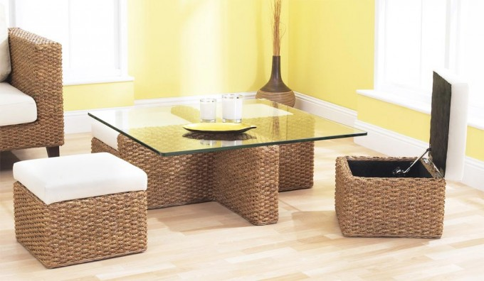 Cube Coffee Table Set Conservatory Rattan Water