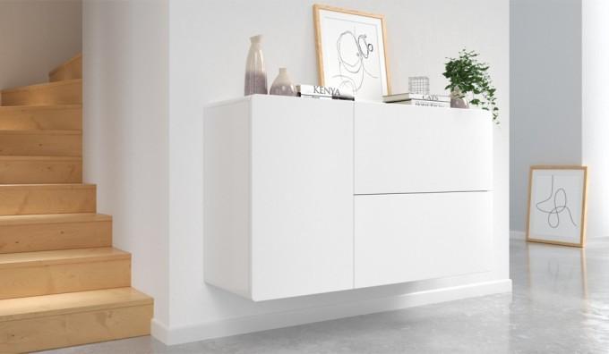 Ikon White Floating Sideboard - 110 cm