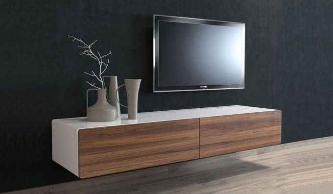 Ikon White + Walnut Floating TV Unit  - 166cm