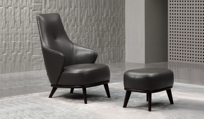 Lisbona Leather Chair and Ottoman