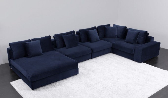Munich Velvet U-Shape Sofa