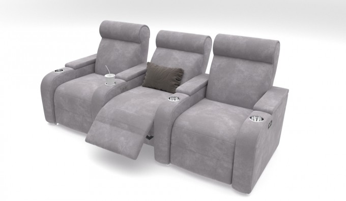 Paramount + 3 Faux Suede Cinema Seats