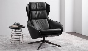 Aero Leather Swivel Armchair