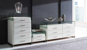 Deco Faux Leather Tall Boy Chest of Drawers