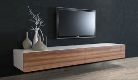 Ikon Matte White + Walnut Floating TV Unit  - 220cm