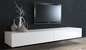 Ikon Matte White Floating TV Unit - 220cm