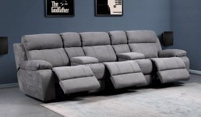 Novell Slim Faux Suede 3 Cinema Seats