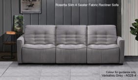 Rosetta Slim 4 Seater Fabric Recliner Sofa