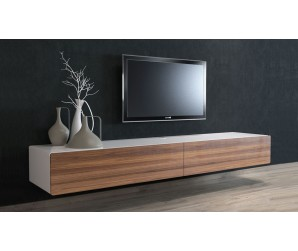Ikon White + Walnut Floating TV Unit  - 220cm