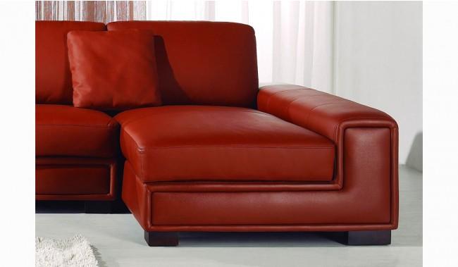 Tassonne Red Leather Corner Sofa - Contemporary Style - Delux Deco